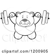 Cartoon Of A Strong Black And White Teddy Bear Lifting A Barbell Royalty Free Vector Clipart