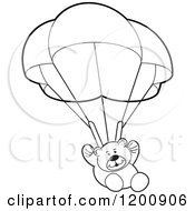 Cartoon Of A Black And White Teddy Bear Floating With A Parachute Royalty Free Vector Clipart