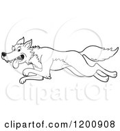 Cartoon Of A Black And White Outlined Running Wolf Royalty Free Vector Clipart