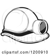 Clipart Of A Black And White Mining Helmet And Lamp Royalty Free Vector Illustration
