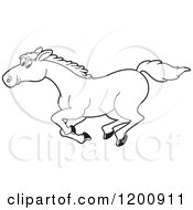 Cartoon Of A Black And White Outlined Running Horse Royalty Free Vector Clipart