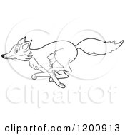 Cartoon Of A Black And White Outlined Running Fox Royalty Free Vector Clipart