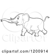 Cartoon Of A Black And White Outlined Running Elephant Royalty Free Vector Clipart