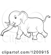 Cartoon Of A Black And White Outlined Running Baby Elephant Royalty Free Vector Clipart