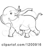 Cartoon Of A Cute Black And White Outlined Playful Baby Elephant Royalty Free Vector Clipart
