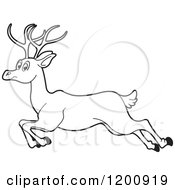 Cartoon Of A Black And White Outlined Running Deer Royalty Free Vector Clipart