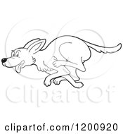 Cartoon Of A Black And White Outlined Running Dog Royalty Free Vector Clipart