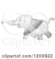 Cartoon Of A Reflective Silver Running Elephant Royalty Free Vector Clipart