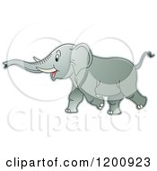 Cartoon Of A Running Elephant Royalty Free Vector Clipart by Lal Perera