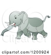 Cartoon Of A Running Baby Elephant Royalty Free Vector Clipart
