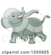 Cartoon Of A Cute Playful Baby Elephant Royalty Free Vector Clipart