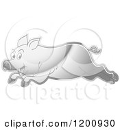 Cartoon Of A Reflective Silver Running Pig Royalty Free Vector Clipart