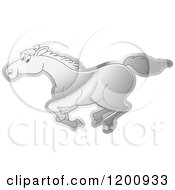 Cartoon Of A Reflective Silver Running Horse Royalty Free Vector Clipart
