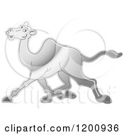 Cartoon Of A Reflective Silver Running Camel Royalty Free Vector Clipart