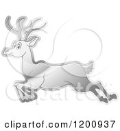 Cartoon Of A Reflective Silver Running Deer Royalty Free Vector Clipart