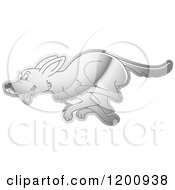 Cartoon Of A Reflective Silver Running Dog Royalty Free Vector Clipart