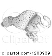 Cartoon Of A Reflective Silver Running Cheetah Royalty Free Vector Clipart