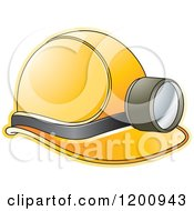 Clipart Of A Yellow Mining Helmet And Lamp Royalty Free Vector Illustration