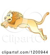 Cartoon Of A Leaping Lion Royalty Free Vector Clipart by Lal Perera