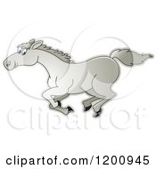 Cartoon Of A Gray Running Horse Royalty Free Vector Clipart by Lal Perera