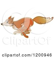 Cartoon Of A Running Fox Royalty Free Vector Clipart