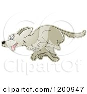 Cartoon Of A Running Dog Royalty Free Vector Clipart