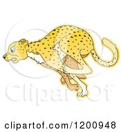 Cartoon Of A Running Cheetah Royalty Free Vector Clipart by Lal Perera