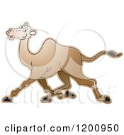 Cartoon Of A Running Camel Royalty Free Vector Clipart