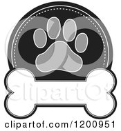 Cartoon Of A Grayscale Paw Print And Dog Bone Label With Text Space Royalty Free Vector Clipart