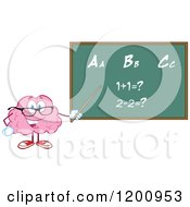 Cartoon Of A Happy Brain Teacher Holding A Pointer Stick To A Math And Alphabet Chalkboard Royalty Free Vector Clipart