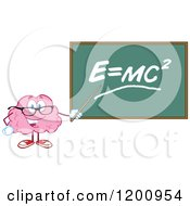 Cartoon Of A Happy Brain Teacher Holding A Pointer Stick To A Physics Chalkboard Royalty Free Vector Clipart