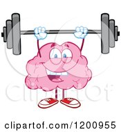 Strong Pink Brain Mascot Lifting A Barbell by Hit Toon