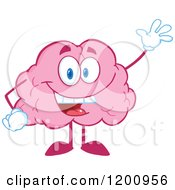 Friendly Waving Pink Brain Mascot