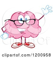 Friendly Pink Brain Mascot Waving And Wearing Glasses by Hit Toon
