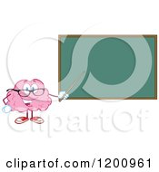 Cartoon Of A Happy Brain Teacher Holding A Pointer Stick To A Chalk Board Royalty Free Vector Clipart