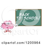 Cartoon Of A Happy Brain Teacher Holding A Pointer Stick To A Back To School Chalkboard Royalty Free Vector Clipart