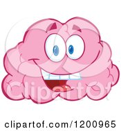 Happy Pink Brain Mascot