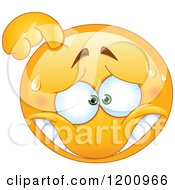 Cartoon Of A Stressed Or Embarassed Sweating Emoticon Smiley Royalty Free Vector Clipart