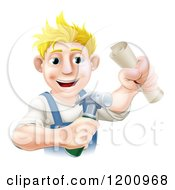 Cartoon Of A Happy Blond Worker Man Holding A Hammer And Degree Royalty Free Vector Clipart