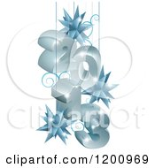 Clipart Of 3d Year 2013 Suspended With Star Ornaments In Gray And Blue Royalty Free Vector Illustration