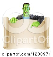 Cartoon Of A Happy Frankenstein Pointing Down To A Blank Scroll Sign Or Invitation Royalty Free Vector Clipart by AtStockIllustration