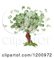 Cartoon Of A Money Tree With Cash Falling Off Royalty Free Vector Clipart