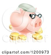 Pension Piggy Bank With Glasses A Green Hat And Gold Coins