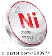 Clipart Of A 3d Floating Round Red And Silver Nickel Chemical Element Icon Royalty Free Vector Illustration