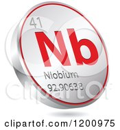 Clipart Of A 3d Floating Round Red And Silver Niobium Chemical Element Icon Royalty Free Vector Illustration