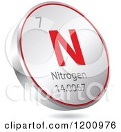 Clipart Of A 3d Floating Round Red And Silver Nitrogen Chemical Element Icon Royalty Free Vector Illustration