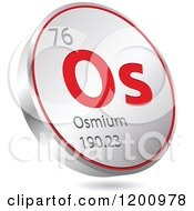 Clipart Of A 3d Floating Round Red And Silver Osmium Chemical Element Icon Royalty Free Vector Illustration