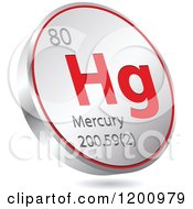 Clipart Of A 3d Floating Round Red And Silver Mercury Chemical Element Icon Royalty Free Vector Illustration