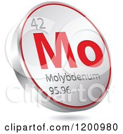 Clipart Of A 3d Floating Round Red And Silver Molybdenum Chemical Element Icon Royalty Free Vector Illustration