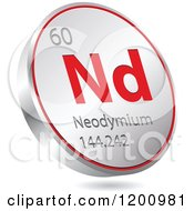 Clipart Of A 3d Floating Round Red And Silver Neodymium Chemical Element Icon Royalty Free Vector Illustration